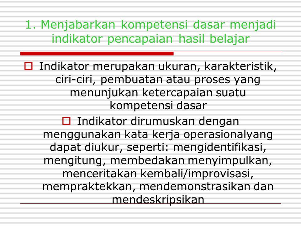 LANGKAH-LANGKAH PELAKSANAAN PENILAIAN Beberapa urutan kerja yang harus dilakukan dalam pelaksanaan penilaian kelas: 1.Menjabarkan kompetensi dasar men