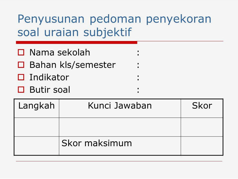 Penyusunan pedoman penyekoran soal uraian objektif  Nama sekolah:  Bahan kls/semester:  Indikator:  Butir soal: LangkahKunci JawabanSkor Skor maks
