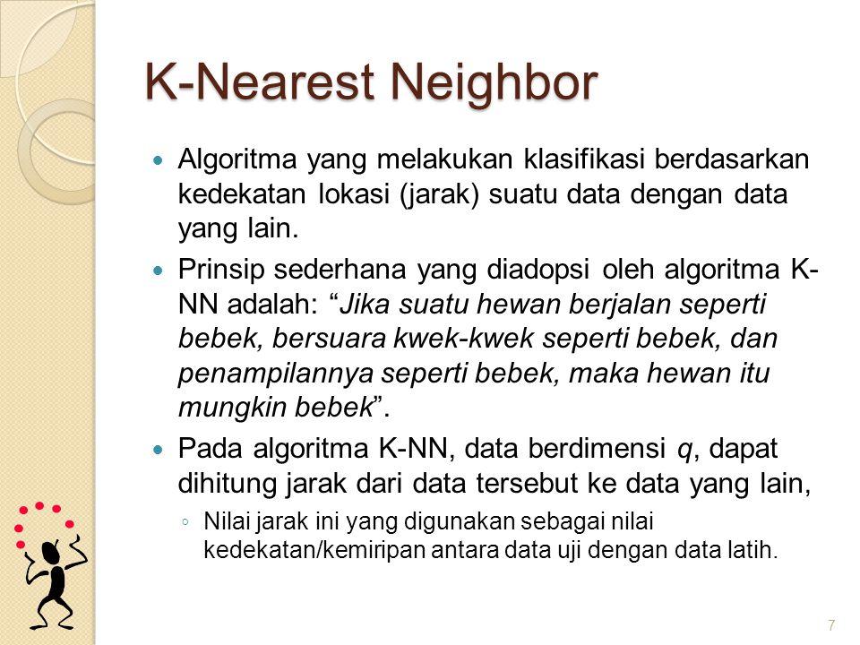K-Nearest Neighbor 8 1 tetangga terdekat (1-NN)2 tetangga terdekat (2-NN) 3 tetangga terdekat (3-NN) 7 tetangga terdekat (7-NN)
