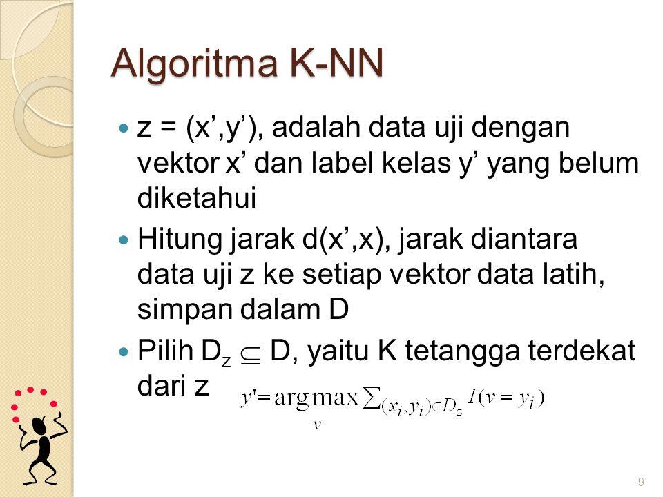 Contoh Data uji 1: ◦ Comp = 18.6939 ◦ Circ = 0.6722 Data uji 2: ◦ Comp = 9.5394 ◦ Circ = 1.3173 Gunakan K-NN untuk memprediksi kelasnya ◦ Gunakan jarak Euclidean ◦ Gunakan K=1, K=3.