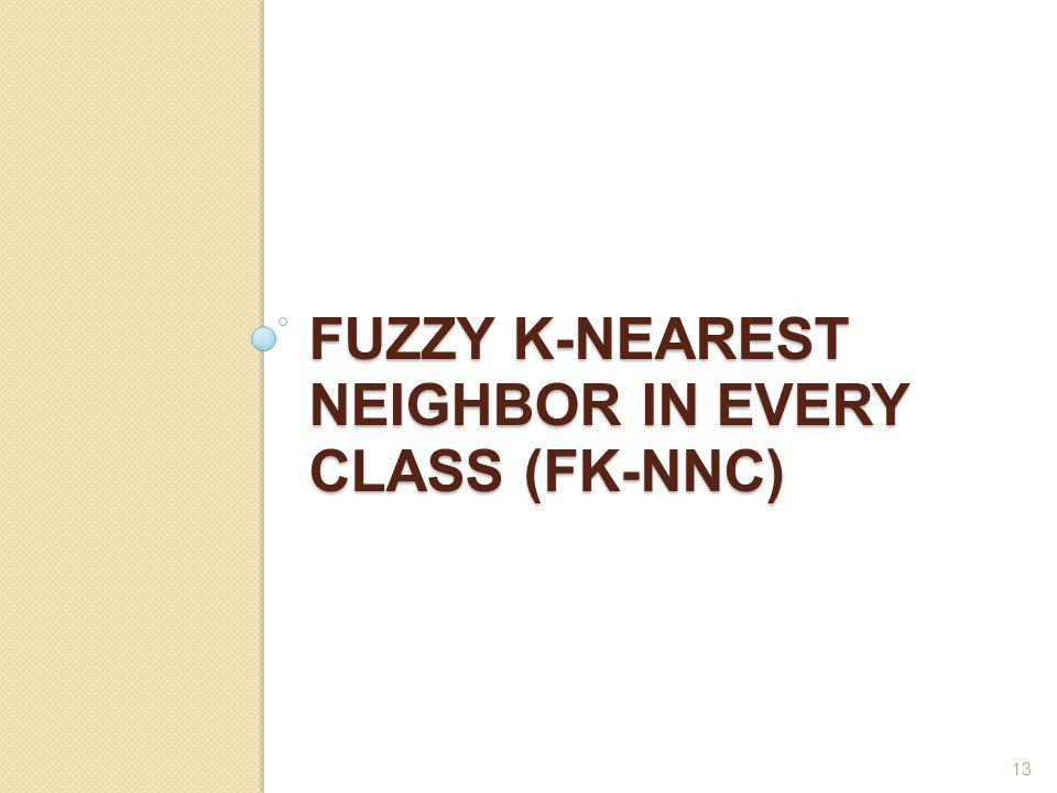FUZZY K-NEAREST NEIGHBOR IN EVERY CLASS (FK-NNC) 13