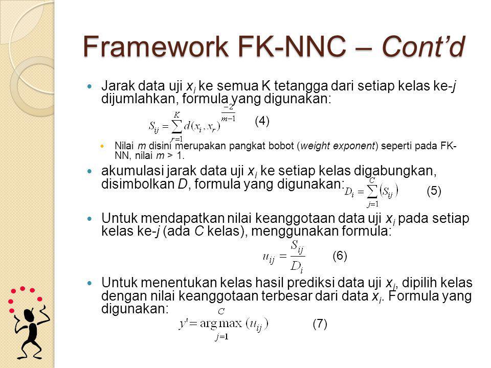 Framework FK-NNC – Cont'd Jarak data uji x i ke semua K tetangga dari setiap kelas ke-j dijumlahkan, formula yang digunakan: Nilai m disini merupakan