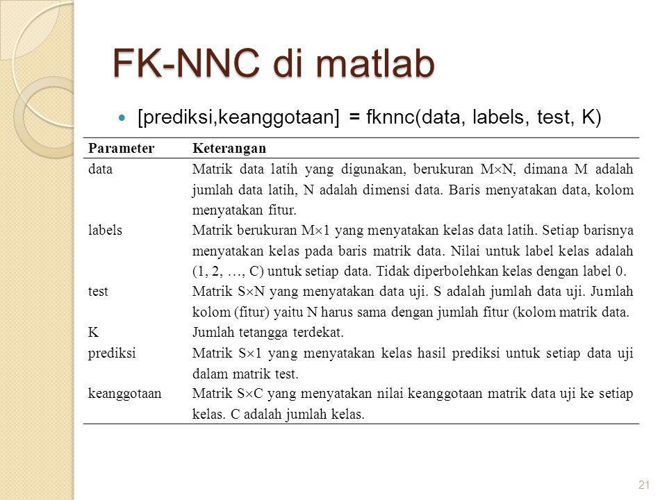 FK-NNC di matlab [prediksi,keanggotaan] = fknnc(data, labels, test, K) 21 ParameterKeterangan data Matrik data latih yang digunakan, berukuran M  N,
