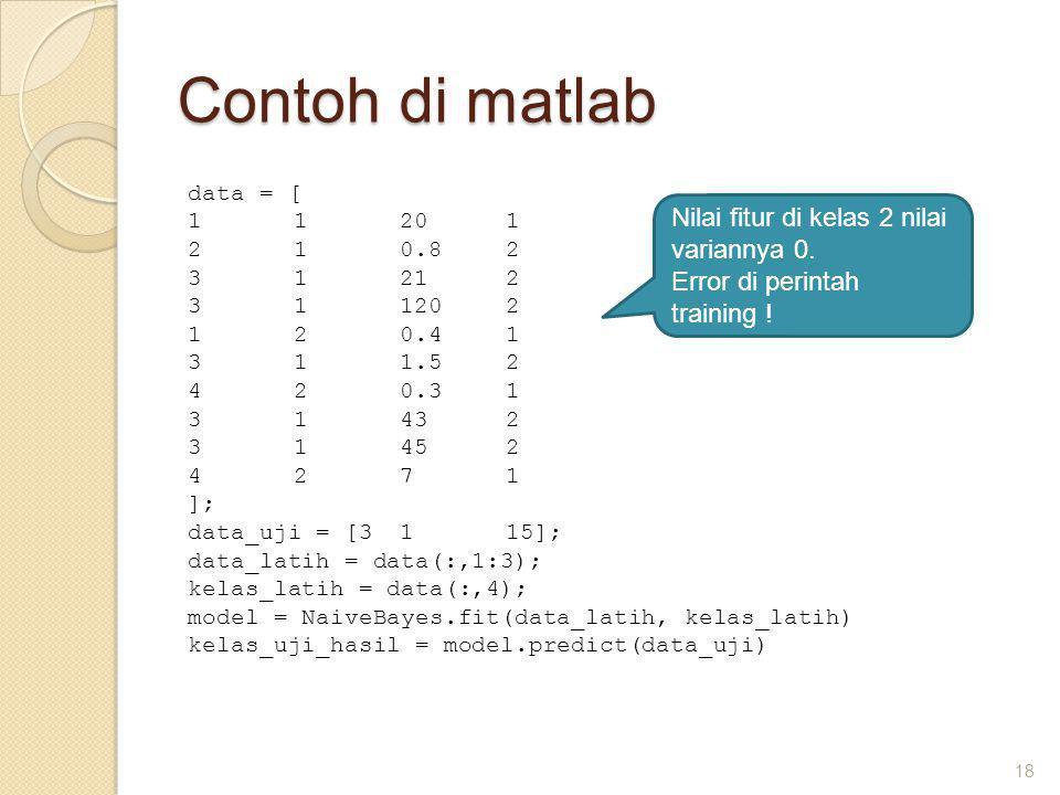 Contoh di matlab 18 data = [ 11201 210.82 31212 311202 120.41 311.52 420.31 31432 31452 4271 ]; data_uji = [3115]; data_latih = data(:,1:3); kelas_latih = data(:,4); model = NaiveBayes.fit(data_latih, kelas_latih) kelas_uji_hasil = model.predict(data_uji) Nilai fitur di kelas 2 nilai variannya 0.