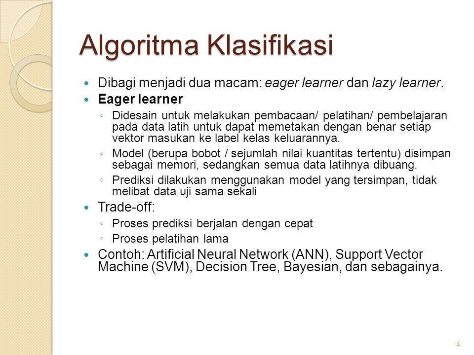 Algoritma Klasifikasi Dibagi menjadi dua macam: eager learner dan lazy learner.