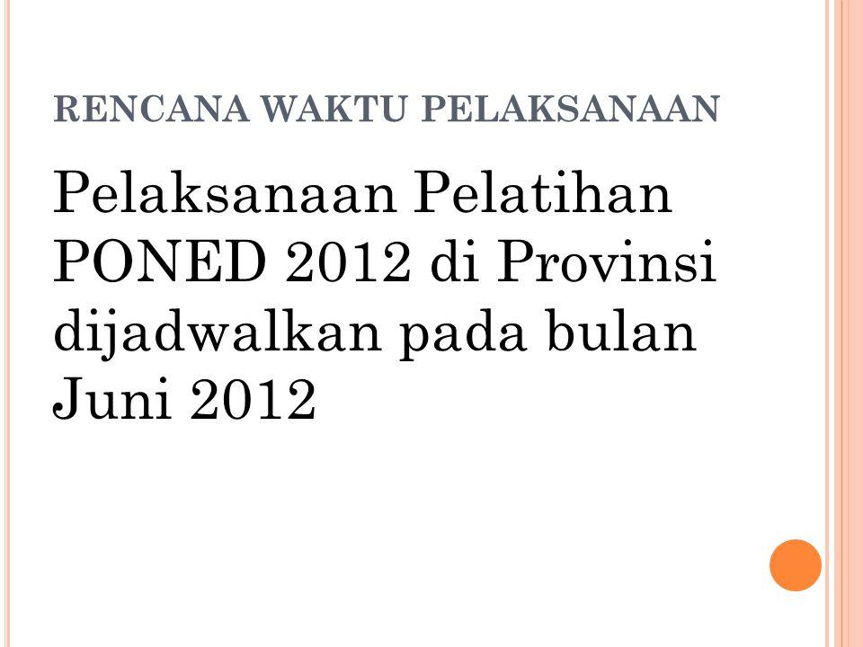 RENCANA WAKTU PELAKSANAAN Pelaksanaan Pelatihan PONED 2012 di Provinsi dijadwalkan pada bulan Juni 2012