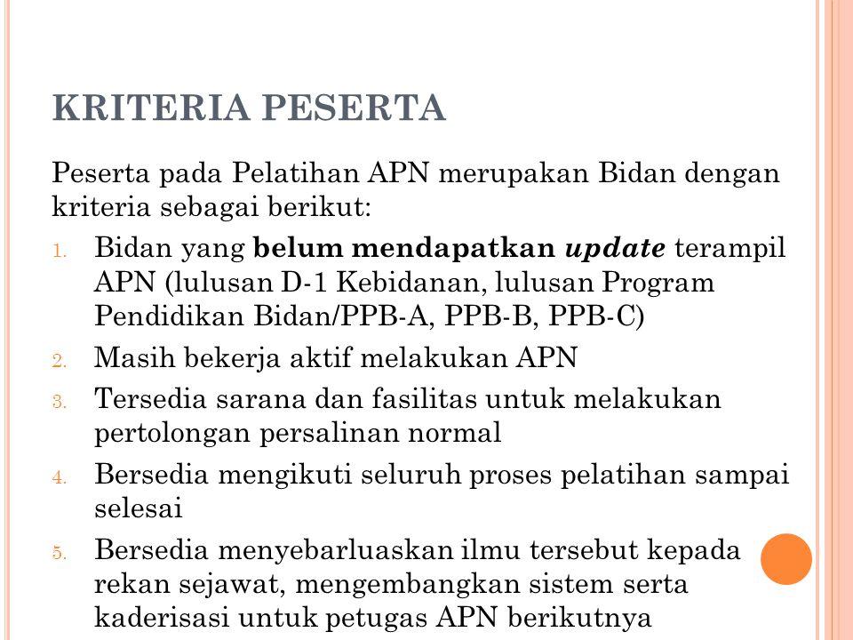 KRITERIA PESERTA Peserta pada Pelatihan APN merupakan Bidan dengan kriteria sebagai berikut: 1. Bidan yang belum mendapatkan update terampil APN (lulu