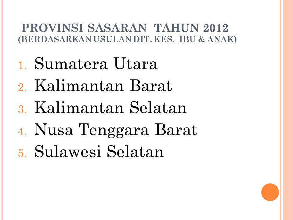 PROVINSI SASARAN TAHUN 2012 (BERDASARKAN USULAN DIT. KES. IBU & ANAK) 1. Sumatera Utara 2. Kalimantan Barat 3. Kalimantan Selatan 4. Nusa Tenggara Bar