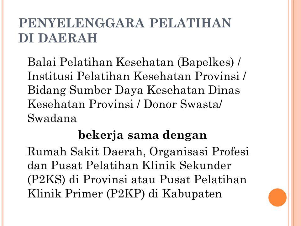 PENYELENGGARA PELATIHAN DI DAERAH Balai Pelatihan Kesehatan (Bapelkes) / Institusi Pelatihan Kesehatan Provinsi / Bidang Sumber Daya Kesehatan Dinas K