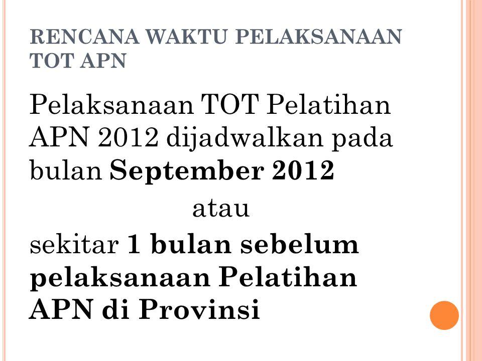 RENCANA WAKTU PELAKSANAAN TOT APN Pelaksanaan TOT Pelatihan APN 2012 dijadwalkan pada bulan September 2012 atau sekitar 1 bulan sebelum pelaksanaan Pe