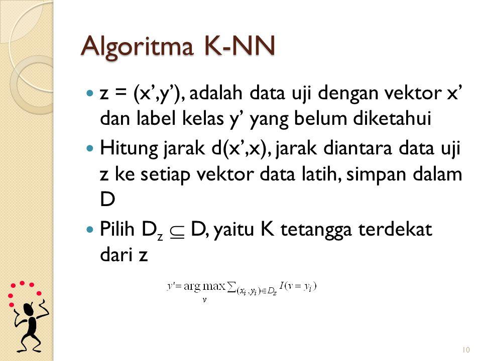 Algoritma K-NN z = (x',y'), adalah data uji dengan vektor x' dan label kelas y' yang belum diketahui Hitung jarak d(x',x), jarak diantara data uji z k