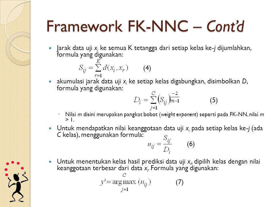 Framework FK-NNC – Cont'd Jarak data uji x i ke semua K tetangga dari setiap kelas ke-j dijumlahkan, formula yang digunakan: akumulasi jarak data uji