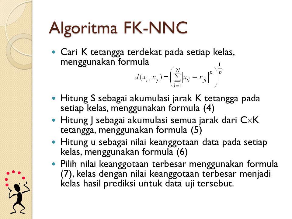 Algoritma FK-NNC Cari K tetangga terdekat pada setiap kelas, menggunakan formula Hitung S sebagai akumulasi jarak K tetangga pada setiap kelas, menggu