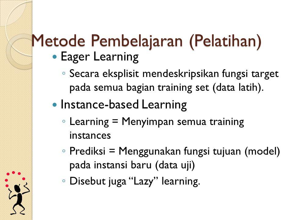 Metode Pembelajaran (Pelatihan) Eager Learning ◦ Secara eksplisit mendeskripsikan fungsi target pada semua bagian training set (data latih). Instance-