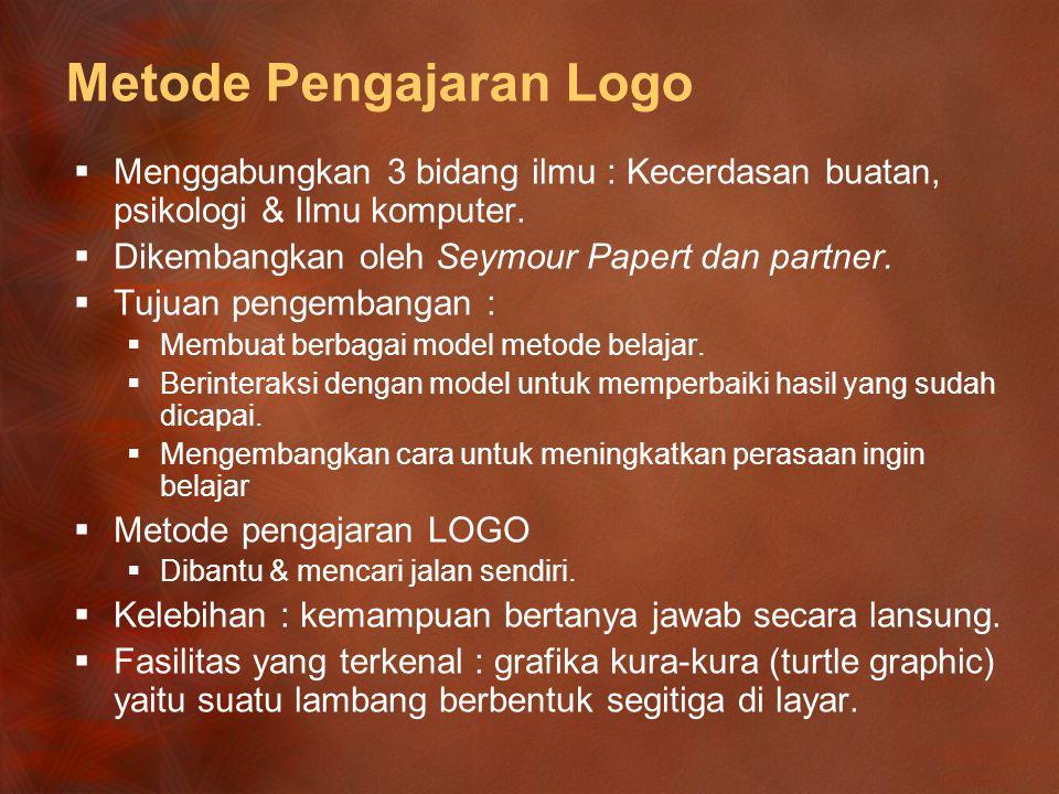 Metode Pengajaran Logo  Menggabungkan 3 bidang ilmu : Kecerdasan buatan, psikologi & Ilmu komputer.