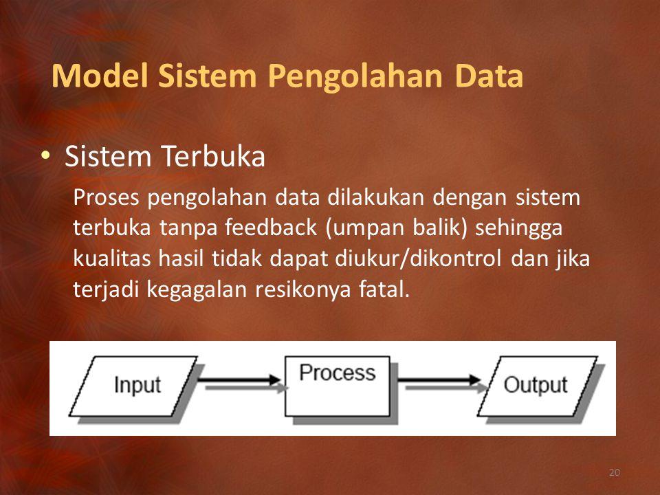 Model Sistem Pengolahan Data Sistem Terbuka Proses pengolahan data dilakukan dengan sistem terbuka tanpa feedback (umpan balik) sehingga kualitas hasil tidak dapat diukur/dikontrol dan jika terjadi kegagalan resikonya fatal.
