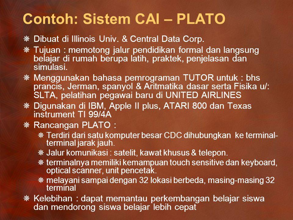Contoh: Sistem CAI – TICCIT  Dikembangkan di perusahaan MITRE  Ciri Khas  Dirancang agar semua aplikasi perangkat lunak dapat diterapkan terpadu.