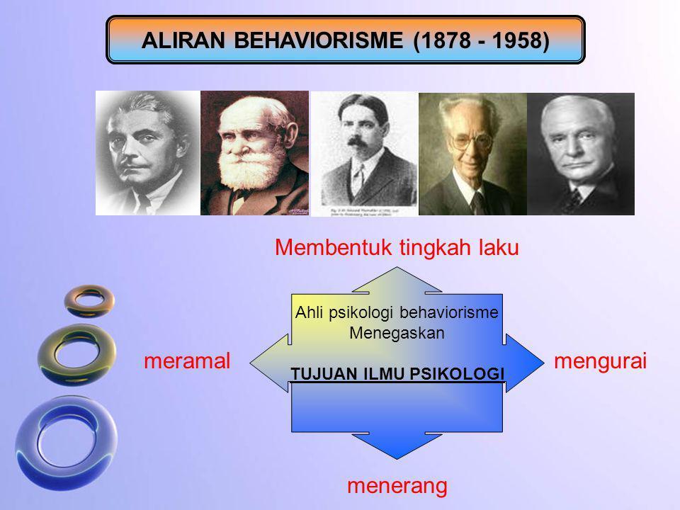 ALIRAN BEHAVIORISME (1878 - 1958) Ahli psikologi behaviorisme Menegaskan TUJUAN ILMU PSIKOLOGI mengurai menerang meramal Membentuk tingkah laku