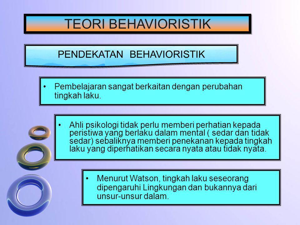 PENDEKATAN BEHAVIORISTIK Ahli psikologi tidak perlu memberi perhatian kepada peristiwa yang berlaku dalam mental ( sedar dan tidak sedar) sebaliknya m