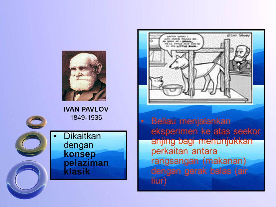 Dikaitkan dengan konsep pelaziman klasik IVAN PAVLOV 1849-1936 Beliau menjalankan eksperimen ke atas seekor anjing bagi menunjukkan perkaitan antara r