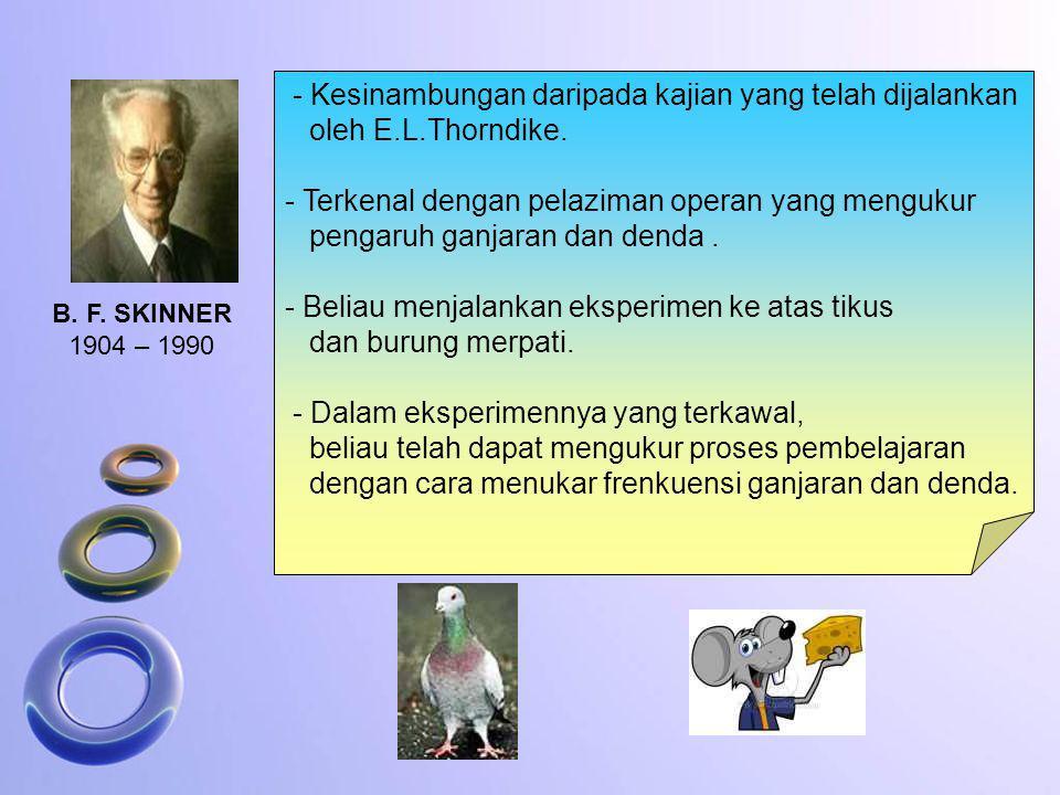 B. F. SKINNER 1904 – 1990 - Kesinambungan daripada kajian yang telah dijalankan oleh E.L.Thorndike. - Terkenal dengan pelaziman operan yang mengukur p