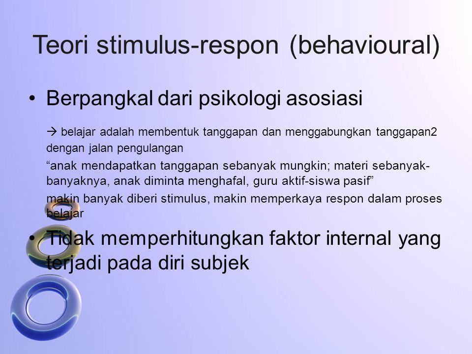 Teori stimulus-respon (behavioural) Berpangkal dari psikologi asosiasi  belajar adalah membentuk tanggapan dan menggabungkan tanggapan2 dengan jalan