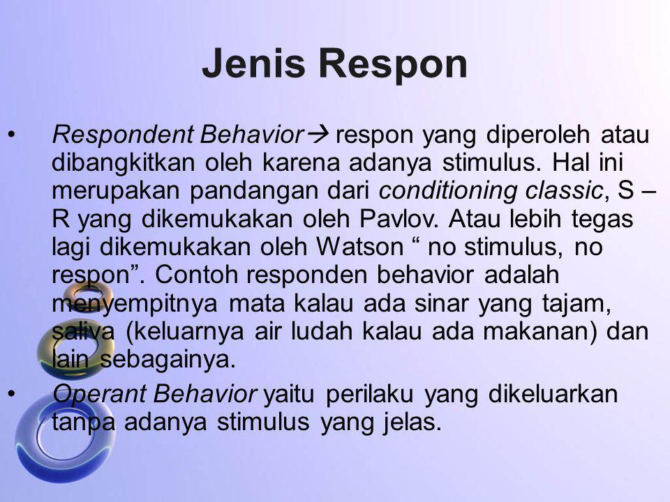 Jenis Respon Respondent Behavior  respon yang diperoleh atau dibangkitkan oleh karena adanya stimulus. Hal ini merupakan pandangan dari conditioning