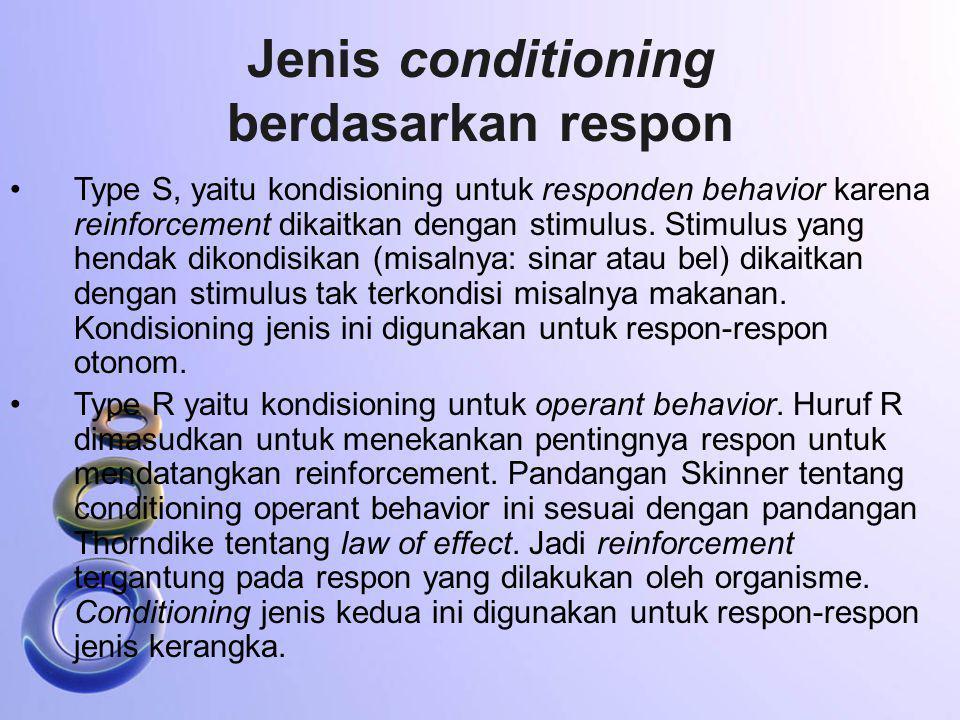 Jenis conditioning berdasarkan respon Type S, yaitu kondisioning untuk responden behavior karena reinforcement dikaitkan dengan stimulus. Stimulus yan