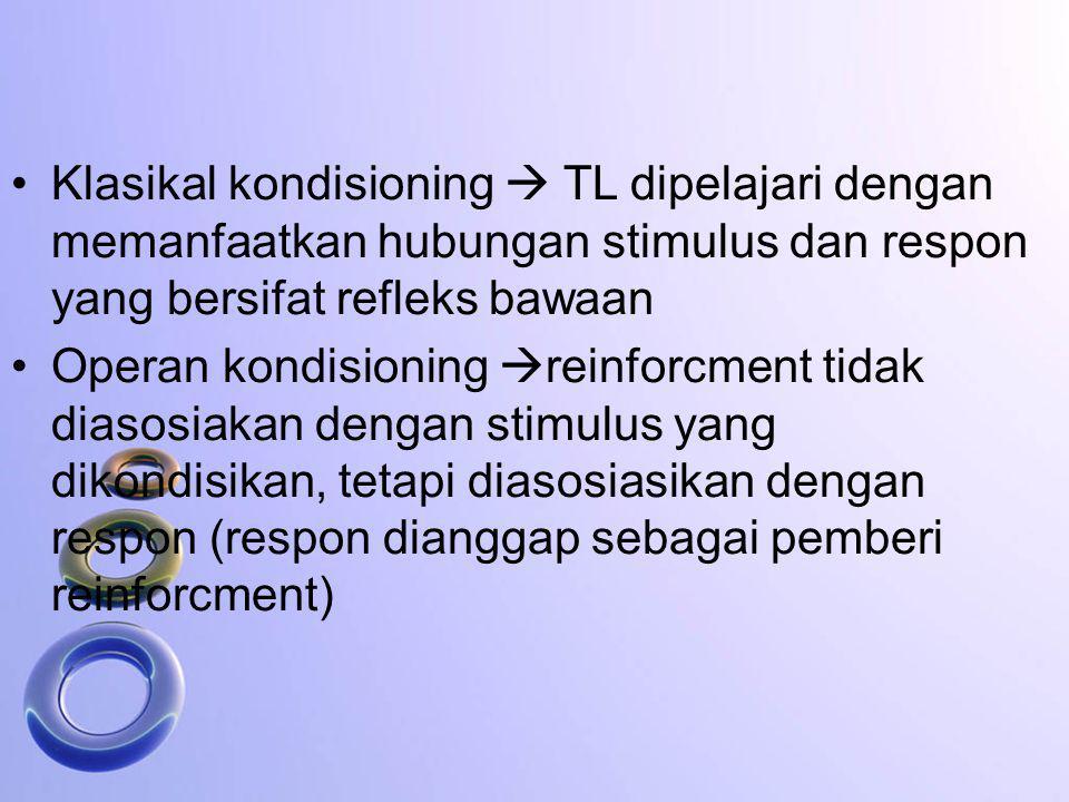 Klasikal kondisioning  TL dipelajari dengan memanfaatkan hubungan stimulus dan respon yang bersifat refleks bawaan Operan kondisioning  reinforcment