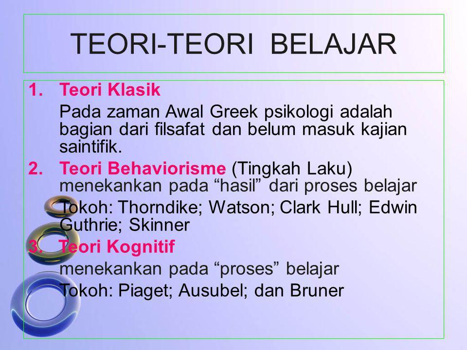 TEORI-TEORI BELAJAR 1.Teori Klasik Pada zaman Awal Greek psikologi adalah bagian dari filsafat dan belum masuk kajian saintifik. 2.Teori Behaviorisme