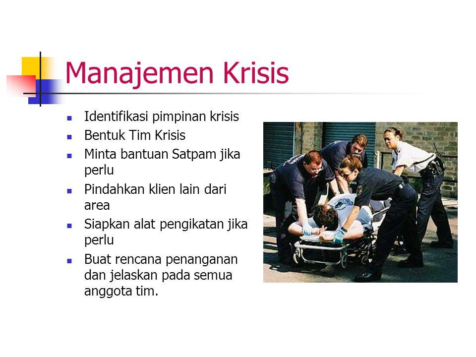 Manajemen Krisis Identifikasi pimpinan krisis Bentuk Tim Krisis Minta bantuan Satpam jika perlu Pindahkan klien lain dari area Siapkan alat pengikatan