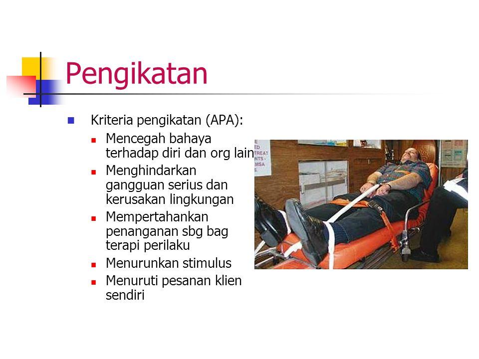 Pengikatan Kriteria pengikatan (APA): Mencegah bahaya terhadap diri dan org lain Menghindarkan gangguan serius dan kerusakan lingkungan Mempertahankan
