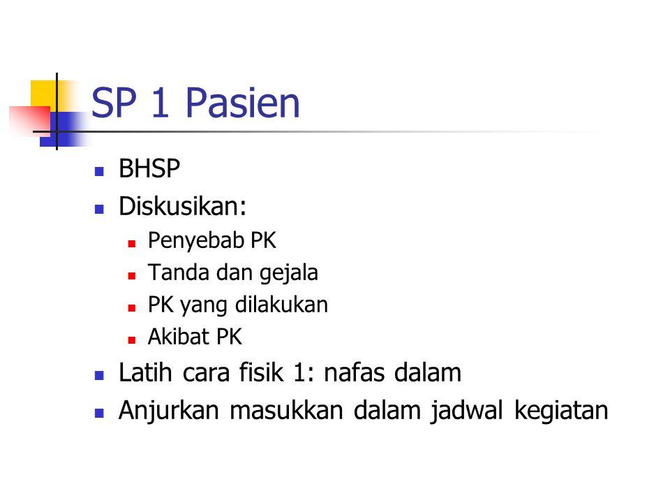 SP 1 Pasien BHSP Diskusikan: Penyebab PK Tanda dan gejala PK yang dilakukan Akibat PK Latih cara fisik 1: nafas dalam Anjurkan masukkan dalam jadwal k