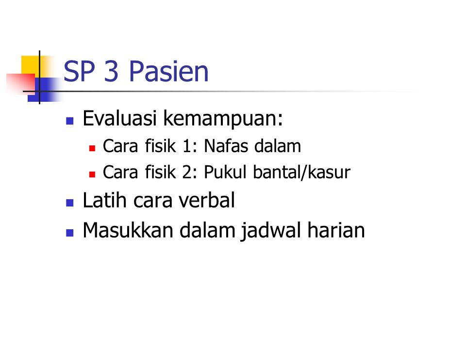SP 3 Pasien Evaluasi kemampuan: Cara fisik 1: Nafas dalam Cara fisik 2: Pukul bantal/kasur Latih cara verbal Masukkan dalam jadwal harian