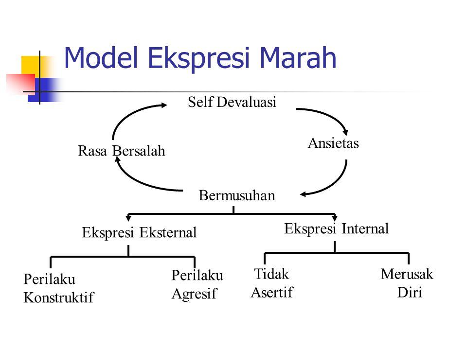 Model Ekspresi Marah Self Devaluasi Rasa Bersalah Ansietas Bermusuhan Ekspresi Eksternal Ekspresi Internal Perilaku Konstruktif Perilaku Agresif Tidak