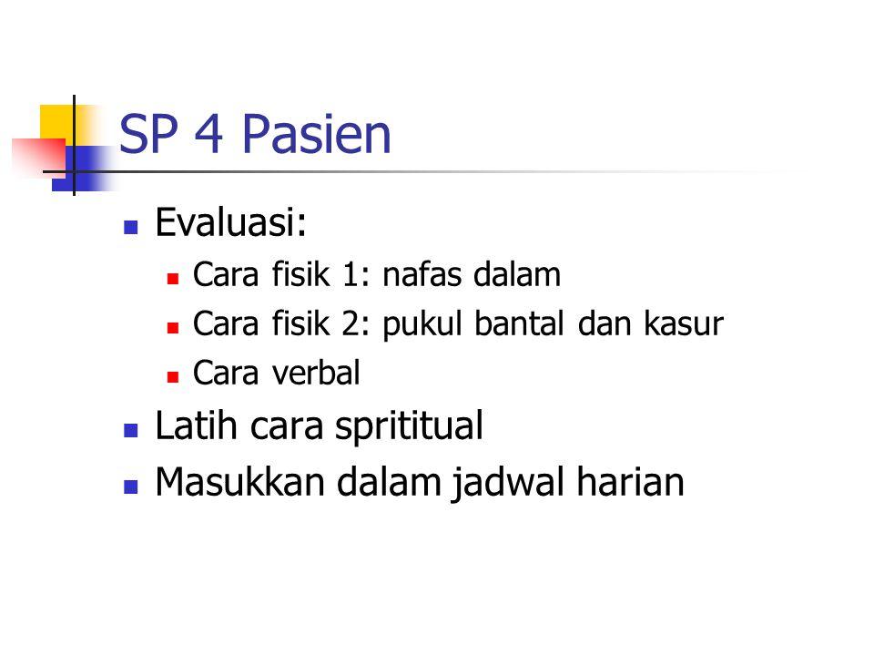SP 4 Pasien Evaluasi: Cara fisik 1: nafas dalam Cara fisik 2: pukul bantal dan kasur Cara verbal Latih cara sprititual Masukkan dalam jadwal harian