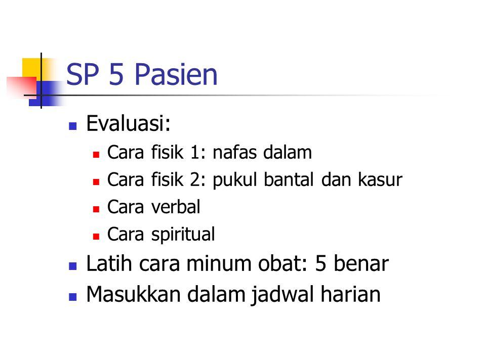 SP 5 Pasien Evaluasi: Cara fisik 1: nafas dalam Cara fisik 2: pukul bantal dan kasur Cara verbal Cara spiritual Latih cara minum obat: 5 benar Masukka