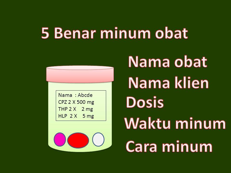 Nama : Abcde CPZ 2 X 500 mg THP 2 X 2 mg HLP 2 X 5 mg