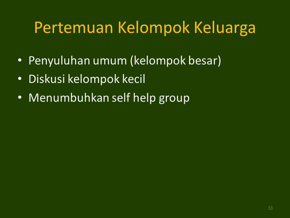 Penyuluhan umum (kelompok besar) Diskusi kelompok kecil Menumbuhkan self help group Pertemuan Kelompok Keluarga 33