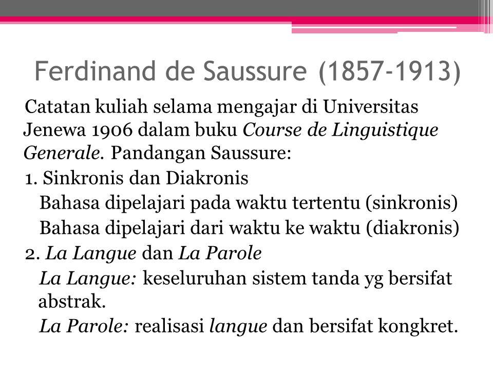 Ferdinand de Saussure (1857-1913) Catatan kuliah selama mengajar di Universitas Jenewa 1906 dalam buku Course de Linguistique Generale. Pandangan Saus