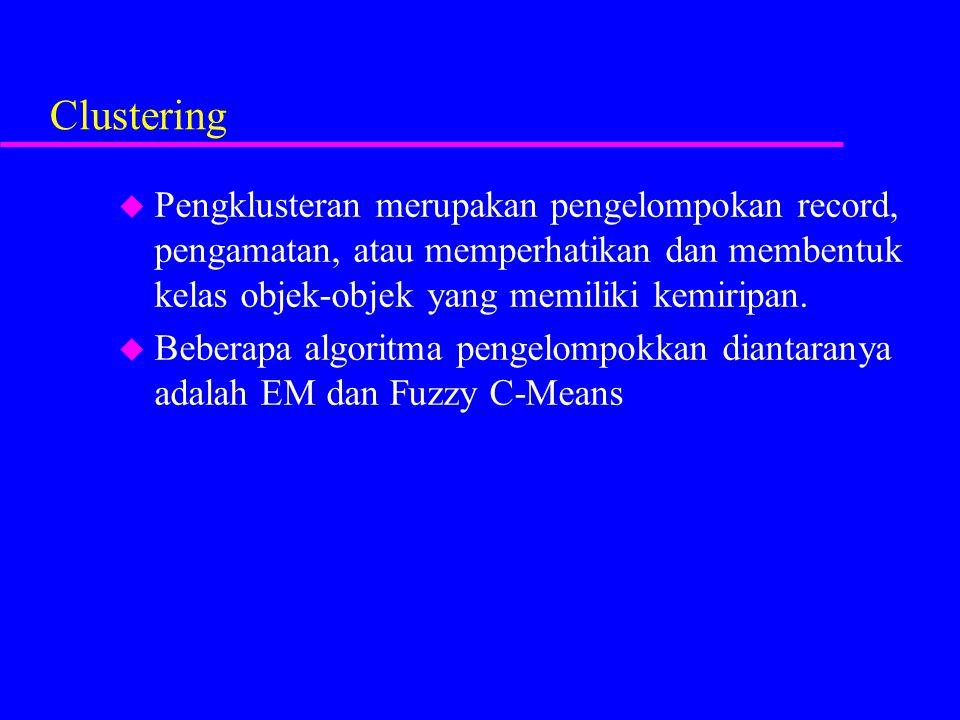 Clustering u Pengklusteran merupakan pengelompokan record, pengamatan, atau memperhatikan dan membentuk kelas objek-objek yang memiliki kemiripan. u B