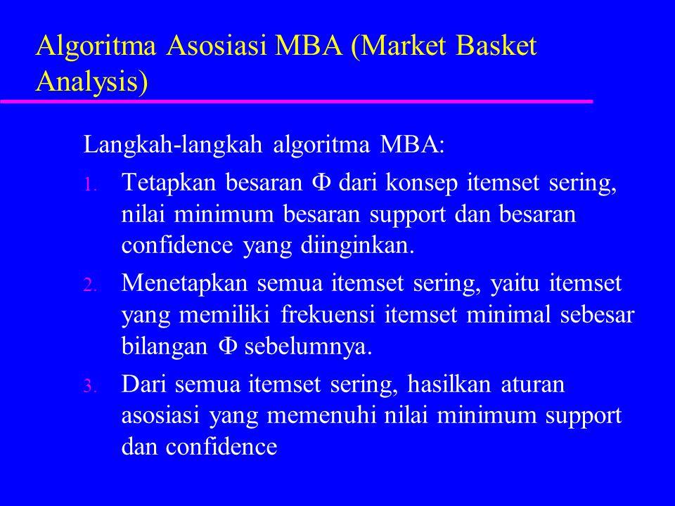Algoritma Asosiasi MBA (Market Basket Analysis) Langkah-langkah algoritma MBA: 1. Tetapkan besaran  dari konsep itemset sering, nilai minimum besaran
