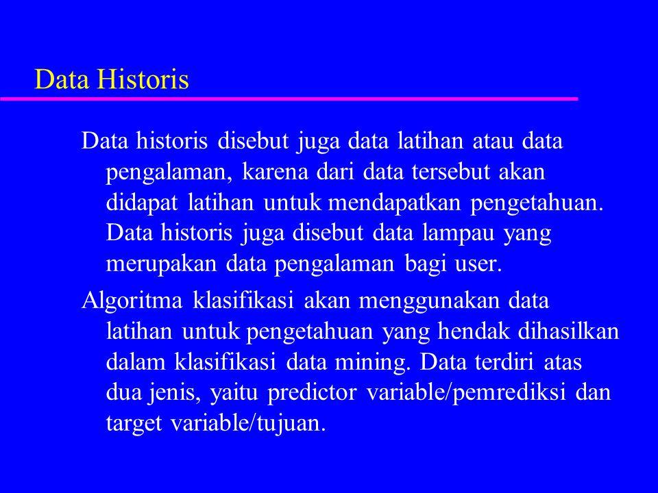 Data Historis Data historis disebut juga data latihan atau data pengalaman, karena dari data tersebut akan didapat latihan untuk mendapatkan pengetahu