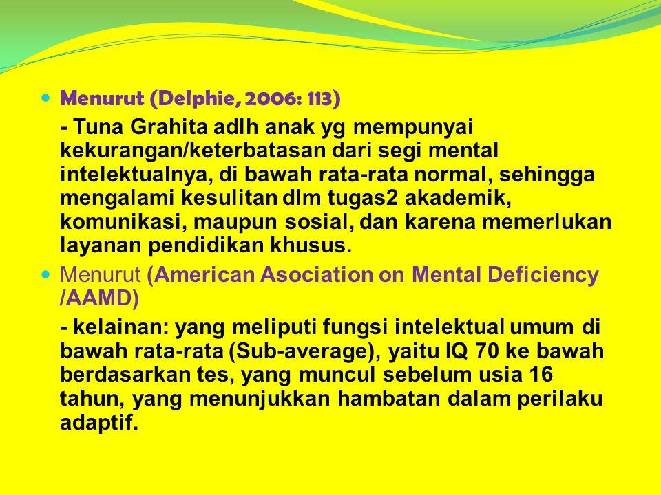 Menurut (Delphie, 2006: 113) - Tuna Grahita adlh anak yg mempunyai kekurangan/keterbatasan dari segi mental intelektualnya, di bawah rata-rata normal,