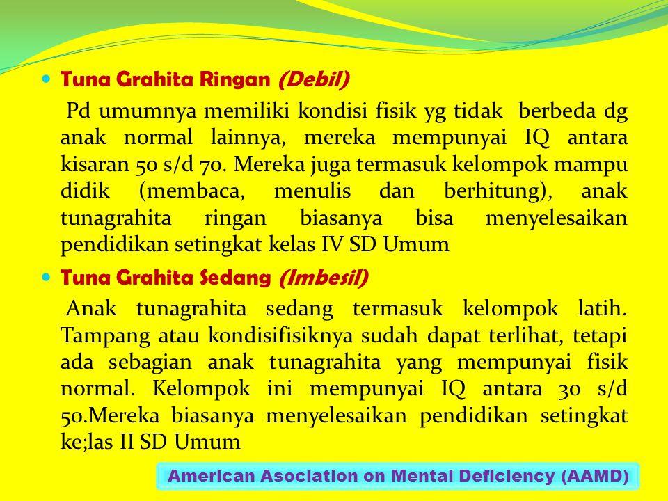Tuna Grahita Ringan (Debil) Pd umumnya memiliki kondisi fisik yg tidak berbeda dg anak normal lainnya, mereka mempunyai IQ antara kisaran 50 s/d 70.