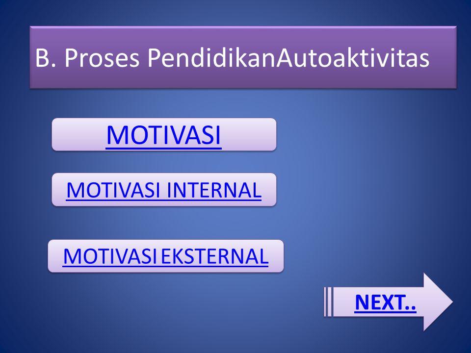 B. Proses PendidikanAutoaktivitas MOTIVASI MOTIVASI INTERNAL MOTIVASI EKSTERNAL MOTIVASI EKSTERNAL NEXT..