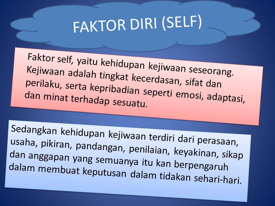 FAKTOR DIRI (SELF) Sedangkan kehidupan kejiwaan terdiri dari perasaan, usaha, pikiran, pandangan, penilaian, keyakinan, sikap dan anggapan yang semuanya itu kan berpengaruh dalam membuat keputusan dalam tidakan sehari-hari.