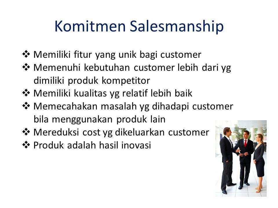 Komitmen Salesmanship  Memiliki fitur yang unik bagi customer  Memenuhi kebutuhan customer lebih dari yg dimiliki produk kompetitor  Memiliki kualitas yg relatif lebih baik  Memecahakan masalah yg dihadapi customer bila menggunakan produk lain  Mereduksi cost yg dikeluarkan customer  Produk adalah hasil inovasi