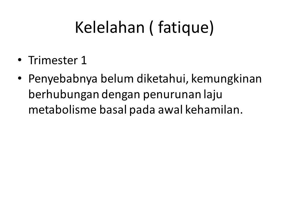 Kelelahan ( fatique) Trimester 1 Penyebabnya belum diketahui, kemungkinan berhubungan dengan penurunan laju metabolisme basal pada awal kehamilan.