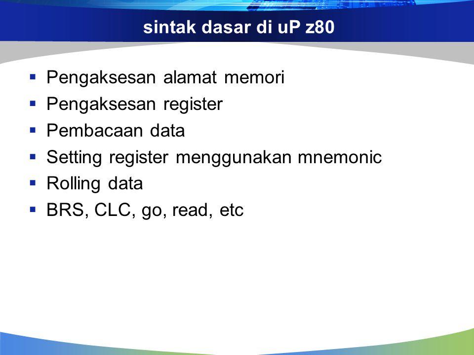 sintak dasar di uP z80  Pengaksesan alamat memori  Pengaksesan register  Pembacaan data  Setting register menggunakan mnemonic  Rolling data  BR